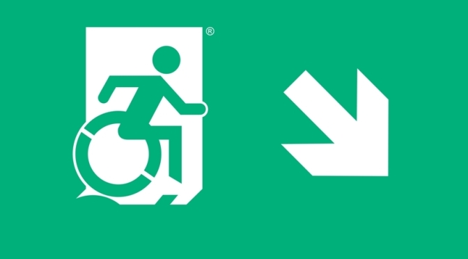 Accessible Means of Egress Icon Accessible Emergency Evacuation Exit Sign by Egress Group