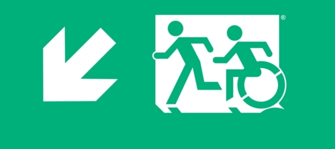 Accessible Means of Egress Icon Accessible Emergency Evacuation Exit Sign Egress Group