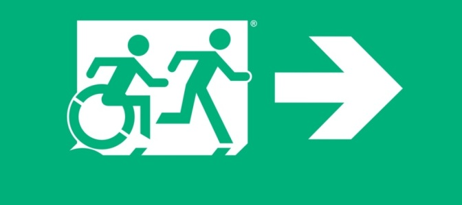 Accessible Means of Egress Page Header, running Man Wheelie Man by Egress Group
