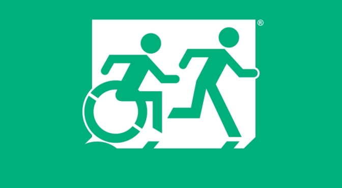 Accessible Means of Egress Page Header, running Man Wheelie Man Egress Group