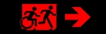 Egress Group Running Man Wheelchair Wheelie Man Symbol Accessible Means of Egress Icon Exit Sign 105