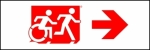 Egress Group Running Man Wheelchair Wheelie Man Symbol Accessible Means of Egress Icon Exit Sign 106