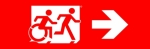 Egress Group Running Man Wheelchair Wheelie Man Symbol Accessible Means of Egress Icon Exit Sign 108