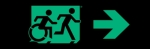 Egress Group Running Man Wheelchair Wheelie Man Symbol Accessible Means of Egress Icon Exit Sign 42