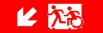 Egress Group Running Man Wheelchair Wheelie Man Symbol Accessible Means of Egress Icon Exit Sign 54