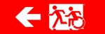 Egress Group Running Man Wheelchair Wheelie Man Symbol Accessible Means of Egress Icon Exit Sign 72
