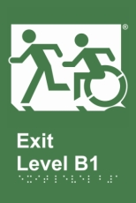 Egress Group Wheelchair Door Sign Level B1 Accessible Means of Egress Icon
