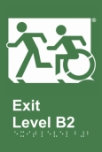 Egress Group Wheelchair Door Sign Level B2 Accessible Means of Egress Icon