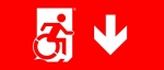 Egress Group Wheelchair Wheelie Man Symbol Accessible Means of Egress Icon Exit Sign 102