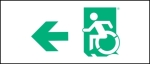 Egress Group Wheelchair Wheelie Man Symbol Accessible Means of Egress Icon Exit Sign 24
