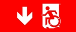 Egress Group Wheelchair Wheelie Man Symbol Accessible Means of Egress Icon Exit Sign 66
