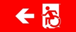 Egress Group Wheelchair Wheelie Man Symbol Accessible Means of Egress Icon Exit Sign 72