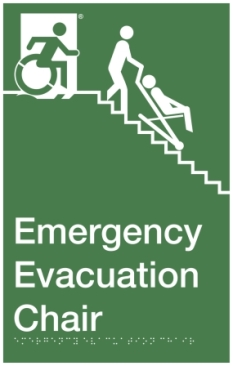 Emergency Evacuation Chair Wheelie Man Wheelchair Refuge Area Sign with Braille ® Egress Group Accessible Means of Egress Icon