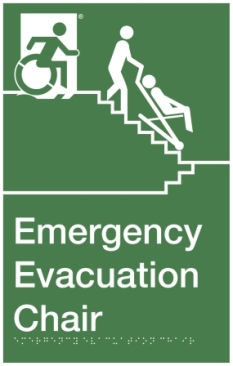 Emergency Evacuation Chair Wheelie Man Wheelchair Refuge Area Sign with Braille ® Exit Sign Project Accessible Means of Egress Icon (2)