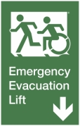 Emergency Evacuation Lift Left Hand Down Egress Group Wheelchair Accessible Means of Egress Icon