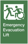 Emergency Evacuation Lift Left Hand Egress Group Wheelchair Accessible Means of Egress Icon