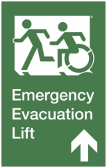 Emergency Evacuation Lift Left Hand Up Egress Group Wheelchair Accessible Means of Egress Icon