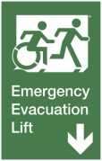 Emergency Evacuation Lift Right Hand Down Egress Group Wheelchair Accessible Means of Egress Icon