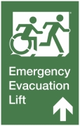 Emergency Evacuation Lift Right Hand Up Egress Group Wheelchair Accessible Means of Egress Icon