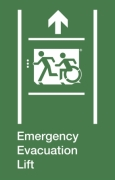 Emergency Evacuation Lift Running Man Wheelie Man Left Hand Up Arrow Exit Sign Project Wheelchair Accessible Means of Egress Icon