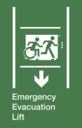 Emergency Evacuation Lift Running Man Wheelie Man Right Hand Down Arrow Exit Sign Project Wheelchair Accessible Means of Egress Icon