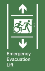 Emergency Evacuation Lift Running Man Wheelie Man Right Hand Up and Down Arrows Exit Sign Project Wheelchair Accessible Means of Egress Icon