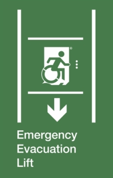 Emergency Evacuation Lift Wheelie Man Right Hand Down Arrow Exit Sign Project Wheelchair Accessible Means of Egress Icon