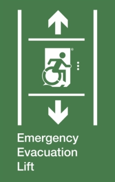 Emergency Evacuation Lift Wheelie Man Right Hand Up and Down Arrows Exit Sign Project Wheelchair Accessible Means of Egress Icon