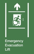 Emergency Evacuation Lift Wheelie Man Right Hand Up Arrow Exit Sign Project Wheelchair Accessible Means of Egress Icon
