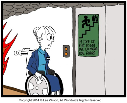 Person using a Wheechair looking at Non Emergency Elevator
