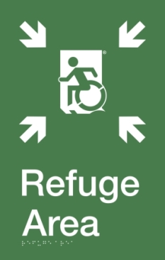 SFA Wheelie Man Running Man Wheelchair Refuge Area Sign with Braille ® Egress Group Wheelchair Accessible Means of Egress Icon
