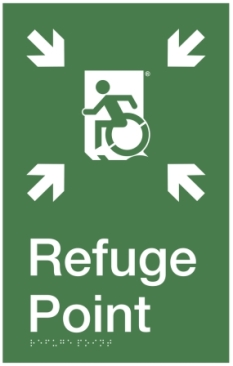 SFP Wheelie Man Running Man Wheelchair Refuge Area Sign with Braille ® Egress Group Wheelchair Accessible Means of Egress Icon