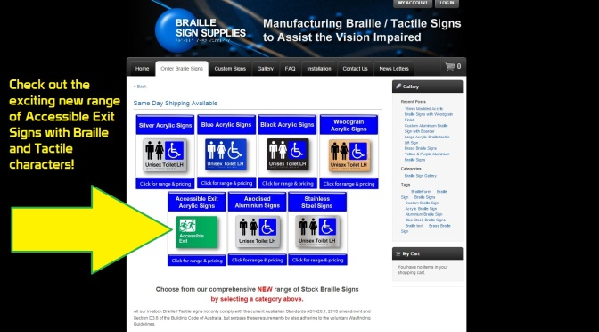 Braille Sign Supplies announced as an Australian Supplier of Accessible Exit Signs