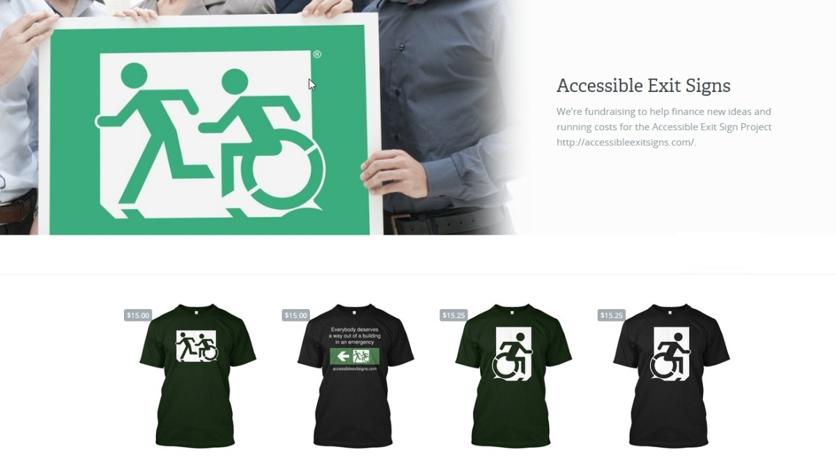 accessible exit sign project fundraising merchandise egress group