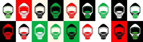 Emergency Escape Mask Smoke Hood Icons 18 Different Colours