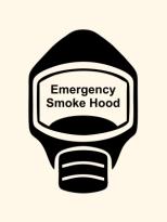 Emergency Escape Smoke Hood Mask Sign, © Egress Group 1