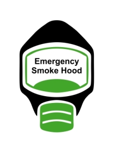 Emergency Escape Smoke Hood Mask Sign, © Egress Group 10