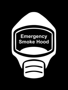 Emergency Escape Smoke Hood Mask Sign, © Egress Group 11