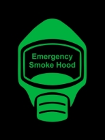 Emergency Escape Smoke Hood Mask Sign, © Egress Group 12