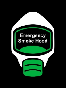 Emergency Escape Smoke Hood Mask Sign, © Egress Group 13