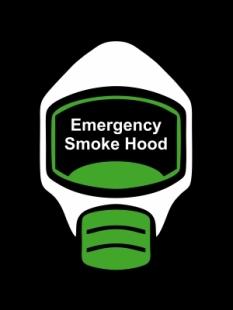Emergency Escape Smoke Hood Mask Sign, © Egress Group 14