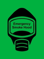 Emergency Escape Smoke Hood Mask Sign, © Egress Group 16