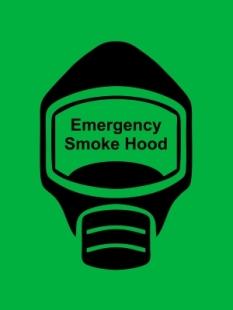 Emergency Escape Smoke Hood Mask Sign, © Egress Group 16