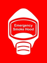 Emergency Escape Smoke Hood Mask Sign, © Egress Group 18