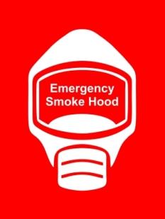 Emergency Escape Smoke Hood Mask Sign, © Egress Group 18