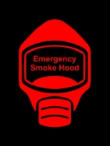 Emergency Escape Smoke Hood Mask Sign, © Egress Group 2