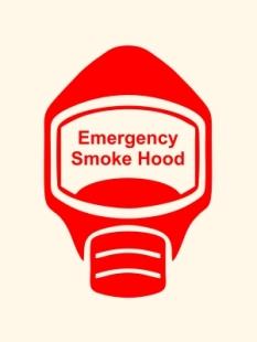 Emergency Escape Smoke Hood Mask Sign, © Egress Group 4