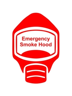Emergency Escape Smoke Hood Mask Sign, © Egress Group 5