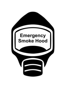 Emergency Escape Smoke Hood Mask Sign, © Egress Group 6