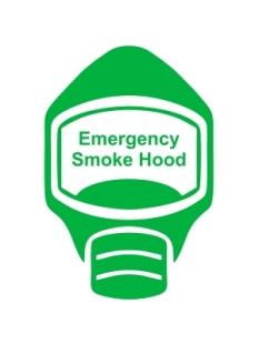 Emergency Escape Smoke Hood Mask Sign, © Egress Group 7